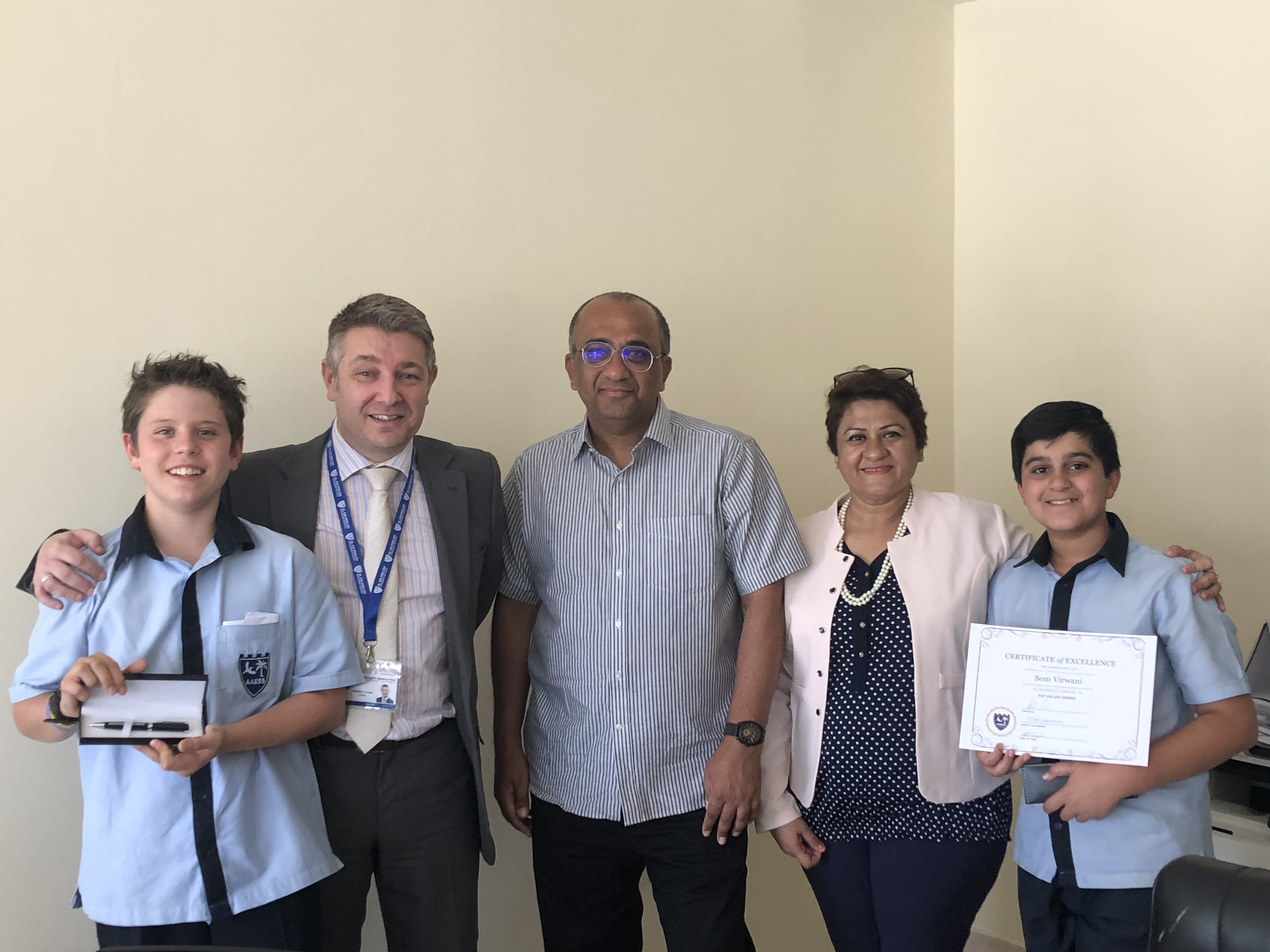 Awards for Som Virwani and Myles Domino Church in SCF Values