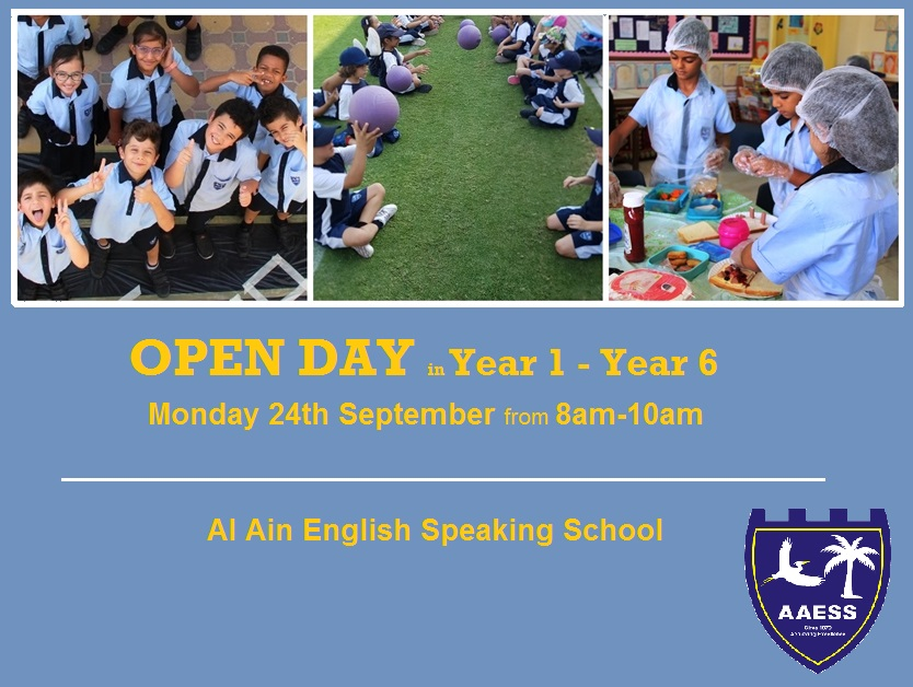 Open Day for Years 1-6 on Monday 24th September